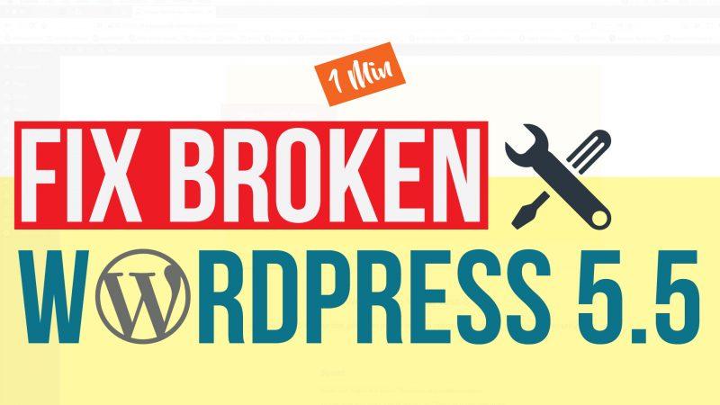 Fix Broken WordPress 5.5